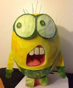 OUR WATERMELON CARVING CONTEST WINNERS ARE … « What About Watermelon? minions, the national, minion watermelon, watermelon art, watermelon carving, nation watermelon, watermelon minion, food art, watermelons