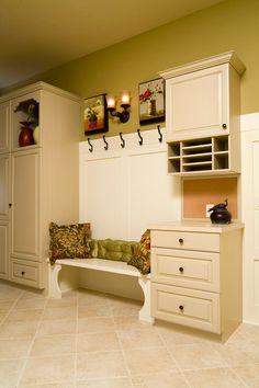 wall colors, mudroom, bench, kitchen colors, mud room, cabinet, paint colors, best cream paint color, moor paint