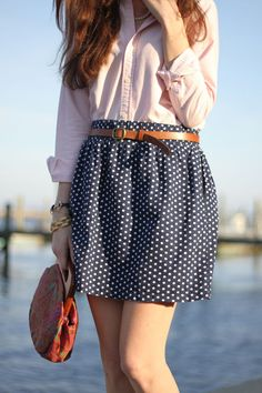Oxford with a polka dot skirt