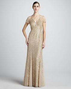 love! Sequined V-Neck Gown - Neiman Marcus