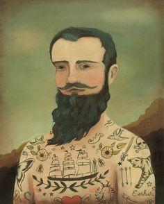 Tattooed man Black Apples, Vintage Circuses, Art Prints, Winfield Martin, Bedrooms Art, Illustration Man, Emily Winfield, Tattoo, Man Prints