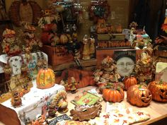 Autumn window display at The Old Farmer's Almanac General Store.