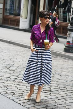 Don't be afraid to wear 2 patterns! Our friends at Dean Street Society tell you how to pull off this 2-Part Fashion Cocktail: pair one smaller print   one bolder print, like these smaller   larger stripes to keep an outfit from feeling not too busy {two tiny prints} nor too crazy {too giant prints}.
