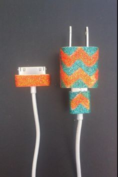 DIY glitter Iphone charger. So cute!!!