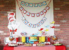 Gorgeous Dr. Seuss dessert table