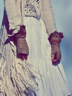 Free People Suede and Lace Fingerless Gloves, $328.00