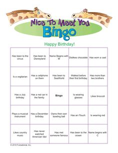 Getting to know you Bingo - could definitely adapt for Girl Scouts