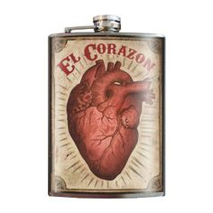 "Keep the ""El Corazon"" flask close to your heart. #InkedShop #heart #flask #party #accessory"