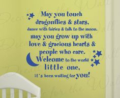 May You Touch Dragonflies and Stars Dance Girl Room Kid Baby Nursery Wall Decal Art Mural Vinyl Lettering Quote Sticker Decoration Decor B19. $27.97, via Etsy.