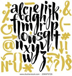 Vector alphabet. Hand drawn letters. Letters of the alphabet written with a brush. - stock vector