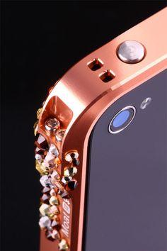 Ladies Bling Bling 120 Aluminum Bumper. Champagne Blush. Swarovski crystal case for Iphone