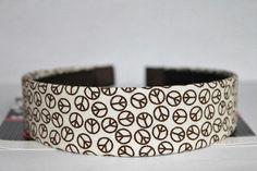 Peace Sign Headband - Fabric Covered Headband - Ivory Brown #Zibbet