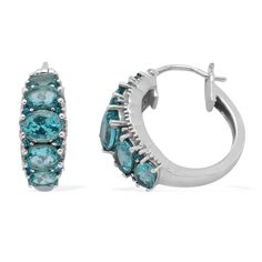 Liquidation Channel | Paraiba Apatite and Malgache Neon Apatite Hoop Earrings in Platinum Overlay Sterling Silver (Nickel Free)
