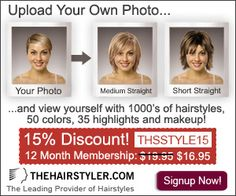 Membership campaign! Try on thousands of different hair styles, colors, highlights, even makeup for a Full year! For less than the enormous cost of a bad haircut!