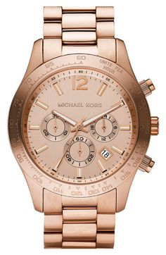 Rose Gold watch by Michael Kors kor watch, menswearinspir watch, style, michael kors watch, roses, rose gold watch, fashion accessories, chronograph watch, men watches
