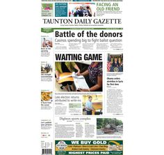 The front page of the Taunton Daily Gazette for Thursday, Sept. 11, 2014.