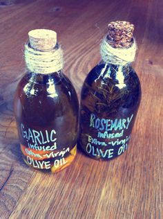 Choose your flavors, bottles, and olive oil. I did garlic and rosemary.  Boil the oil for about 1-2 minutes just until warm. Then let the oil cool for about 5-7 minutes.  Place ingredients in bottle first and then pour over the oil. Let it sit to infuse about 2 weeks in a cool dry place! You can also place it in the refrigerator.