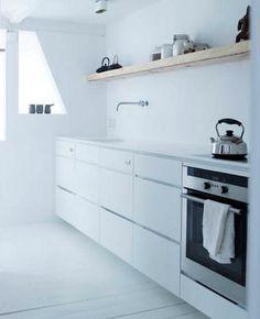 simple, white kitchen