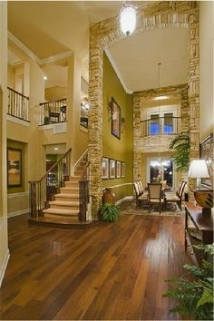 Stone wall idea for living room and archways
