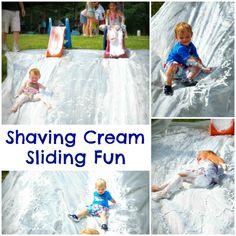Shaving cream slide- simple Summer fun!