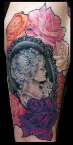 victorian tattoo idea, victorian cameo tattoo, classi tattoo