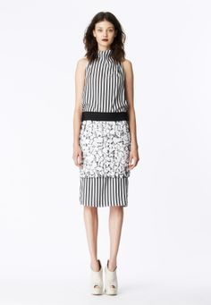 LOOK 7 Charcoal and white silk stripe cowl neck sheath.  Matte white mosaic sequin skirt with black cotton poplin waistband.