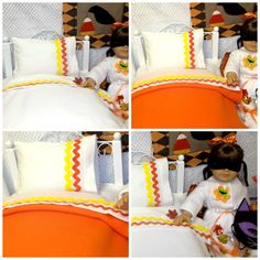 Candy corn has always been my favorite vegetable! Candy Corn American Girl Doll Sheet Set-Etsy.