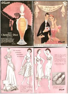 Valentine's day circular from El Encanto department store, 1950's. I lovethe Christian Dior perfume bottle