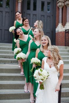 Green white vintage nature earthy wedding bride dress gown bridesmaids dresses kelly green