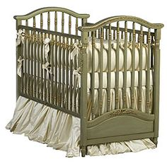 Wynne Baby Bedding Gretel's Antique Spindle Crib in Versailles Green Finish - An ideal choice for a unisex nursery! Uncomplicated color is sure to fit into any room décor effortlessly. Crafted from luxurious silk, this bedding will feel silky smooth on baby's precious skin