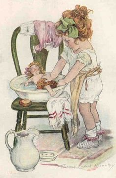 Girl Bathing Doll