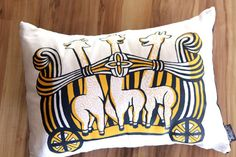 Giraffe Pillow  Yellow and Blue by ToddAh on Etsy, $35.00