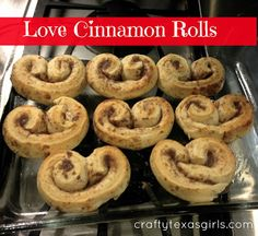Use a can of cinnamon rolls to make 'heart shaped' Valentine breakfast treats.