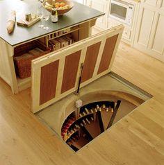 In the kitchen floor - spiral wine cellar.