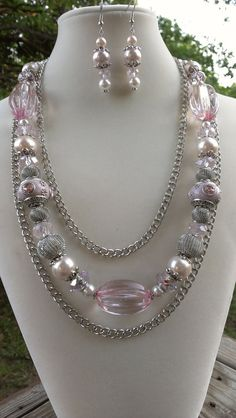 Shabby Chic Chunky Pink Necklace in Pearls chain by jewelMom1965, $43.00