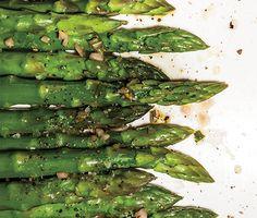 Steamed Asparagus with Shallot Vinaigrette Recipe  at Epicurious.com