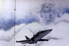 A likeness of Ronald Reagan, from the mural in the hangar deck of USS Ronald Reagan (CVN 76).