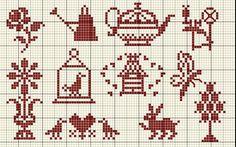 mini sampler motifs, birdcage, bee skep, mini cross stitch