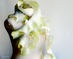 Spring bright ruffled nuno felted scarf lime green by CityCrochet, $55.00