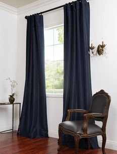 Navy blue curtains perfect for an all white room dining room maybe