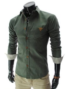 Mens Slim fit Leather Patched Pocket Long Sleeve Shirt