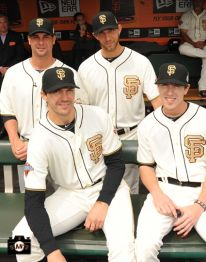 Ryan Vogelsong, Madison Bumgarner, Barry Zito and Tim Lincecum decked out in their special Ring Ceremony uniforms. #SFGiants