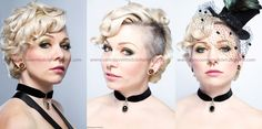 Very short curly blonde hair with shaved sides/ undercut/ mohawk pin-up style for a Bride