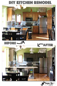 DIY Kitchen remodel - oak cabinets to painted gray - mosaic tile backsplash with tile border - - I love my new kitchen look!