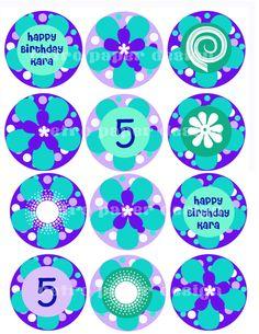 Cupcake topper printable diy by GarrityDesign on Etsy