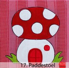 Kinderschilderij Paddenstoel. Kleurrijk en vrolijk schilderijtje voor de kinderkamer of gewoon voor jezelf!
