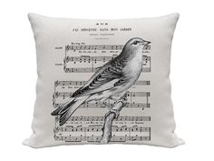 Bird and Music Pillow Covers, Decorative Pillows, Throw Pillows, Accent Pillows, Cushions, 16 x 16 Inch pillow, Black and White. $18.00, via Etsy.