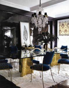 Gold, white fur, velvet, black walls...glamorous