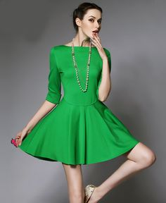 Green Half Sleeve Flare Slim Dress
