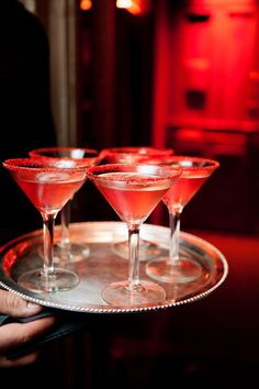 red sugar-rimmed cocktails // photo by Photo Pink NYC // http://ruffledblog.com/dracula-inspired-halloween-wedding